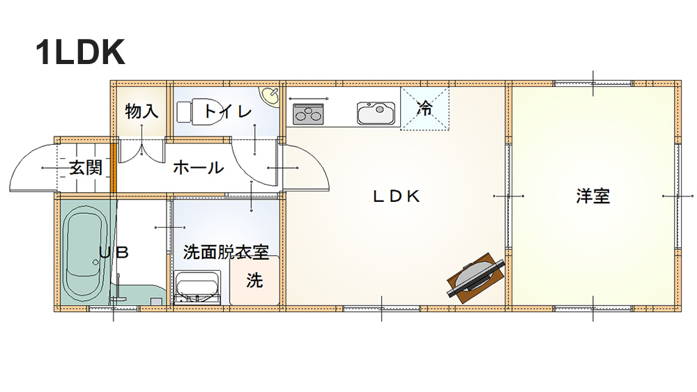 1LDKの遺品整理(査定)参考写真