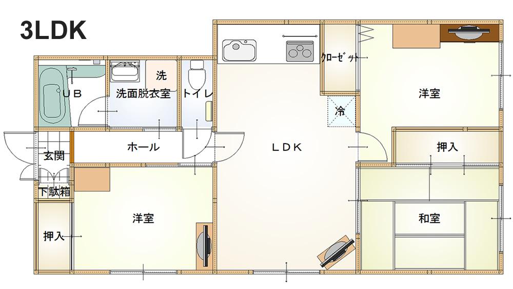 3LDKの遺品整理(査定)参考写真